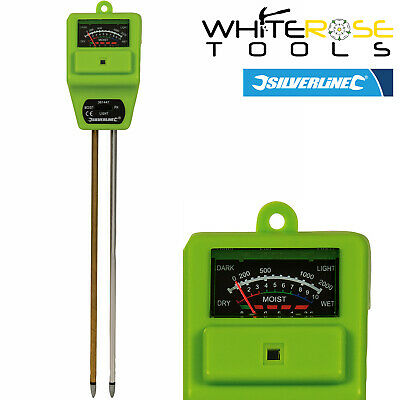 Silverline 361447 3 In 1 Garden Plant Soil Tester Moisture Light PH Acid