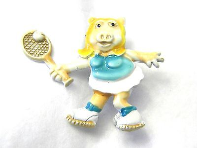 Vintage Enamel Tennis Playing Pig Pin Perhaps Miss Piggy