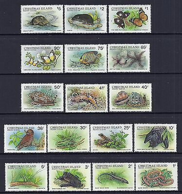 1987-88 Christmas Island Wildlife Definitives Complete Set Of 17 Fine Mint Mnh