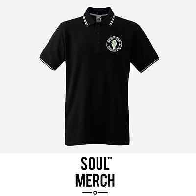 Northern Soul Keep The Faith Embroidered Badge Tipped Polo Shirt T-Shirt Black