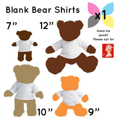1 Blank White Teddy Soft Toy T Shirt For Sublimation / Transfer Wholesale Bulk