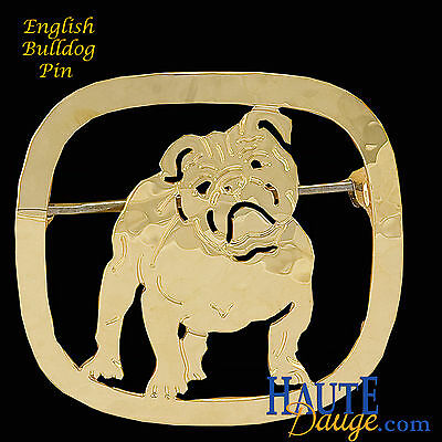 English Bulldog Pin Large Gold Plated By Touchstone (N040)