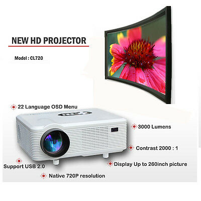 1080P 3D Support LED VidéoProjecteur Home CINEMA 3000 Lumens HDMI USB/VGA/AV/DTV