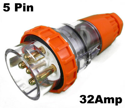 32 AMP 3 Phase 5 Pin Round Straight Plug Top