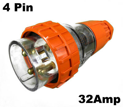 GEN3 32 AMP 3 Phase 4 Pin Round Straight Plug Top