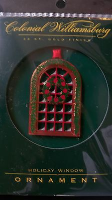 Colonial Williamsburg 24K Gold Holiday Window Ornament NEW 2-D Hanging Christmas