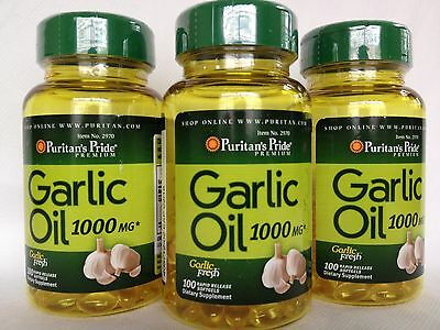 3 Bottles Puritan's Pride Garlic Oil 1000 mg Made In USA - Amazing Savings!!!