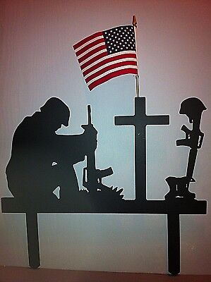 Soldier Military Memorial Stake Memorial Fallen Soldier Hand Crafted Metal