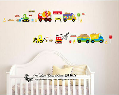 Boys Transportation Car Truck Digger Bulldozer Wall Sticker Decal Art Decor Gift
