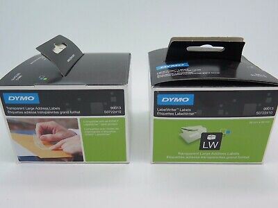 2 x Dymo Labelwriter Address Plastic CLEAR 36mm x 89mm (2 x 260 Labels) SD99013