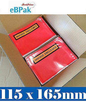 2000x RED Clear - Invoice Enclosed - Document Envelope Sticker Pouch 115 X165MM