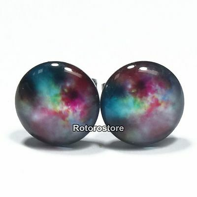 Galaxy Universe Cosmic Colours Stainless Steel Stud Earrings - Mens Womens - New