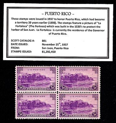 1937 - PUERTO RICO - Vintage Mint -MNH- Block of Four Postage Stamps