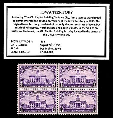 1938 - IOWA TERRITORY - Vintage Mint -MNH- Block of Four Postage Stamps