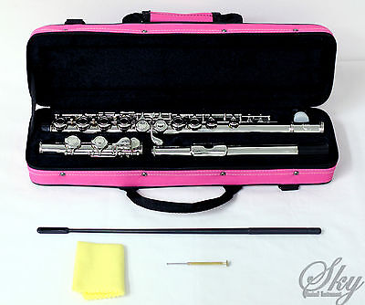 New SKY Nickel Plated C Foot Flute 16 Holes w Pink Case Band Approved