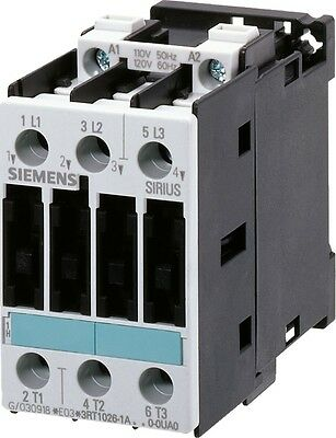 Siemens 3RT1025-1AP60 17 AMP 3 pole contactor with a 240 volt AC coil.