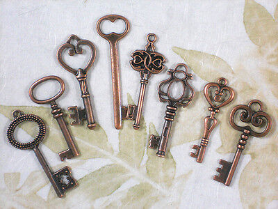 8 Copper Skeleton Keys Mid Collection Medium Key Set #K23 -8
