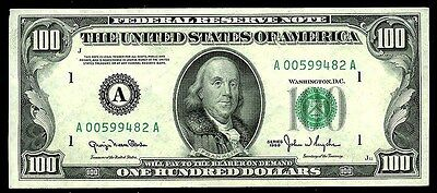 1950 $100.00 Green Seal Federal Reserve Bank Of Boston Note Au/cu Condition