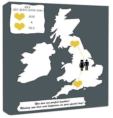Word Art Wedding Day Gift Personalised Map Art Framed Canvas Print