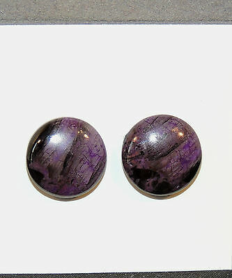 Sugilite Cabochons Pair of 14mm from South Africa  (6575)