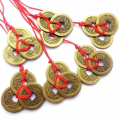 Feng Shui -  6 pcs Three Lucky I ching Coins  - Wealth