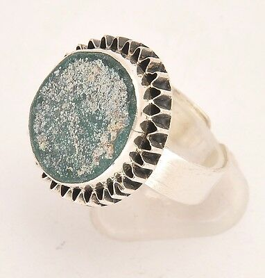 Roman Glass Hand Made Ring In Sterling Silver 925.