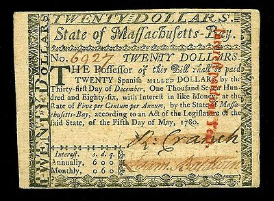 May 5, 1780 Massachusetts Twenty Dollars Colonial Currency -Ma 285