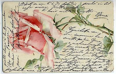 KLEIN Red Rose Embossed early PC Viaggiata 1905