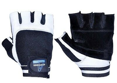 Austodex Weight Lifting Gym Gloves Leather Black & White Slim Men Women S-Xxl