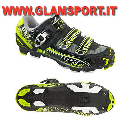 FORCE SCARPE MTB MOUNTAIN BIKE HARD BICI FLUO SPD  CON CRICCHETTO + 2 STRAP