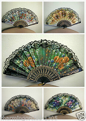 Spanish Style Flora / Oriental Dance Party Wedding Silk Folding Hand Fan Lace
