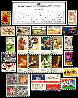 1974 Complete Year Set Of 30 Mint Nh (Mnh) Vintage U.s. Postage Stamps