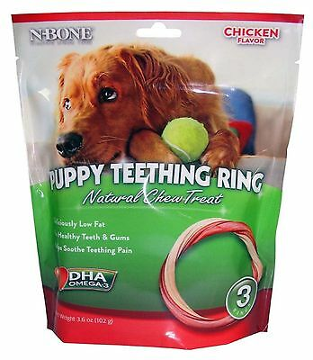 N-Bone Puppy Teething Ring Natural Chew Treat Chicken Flavor 3 pack