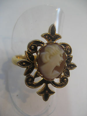 """Cameo Ring With Carved Shell Cameo From Italy """" Private Collection"""""""