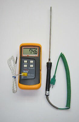"Digital K-Type Thermocouple Thermometer + 8"" Stainless Steel Insertion Probe TC4"
