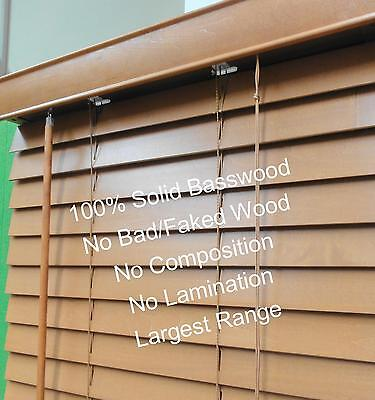 New 50mm basswood timber venetian blind; Colour: golden oak (largest size range)