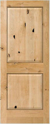Knotty Alder 2 Panel Square Raised Solid Core Interior Wood Doors - 6'8 Height