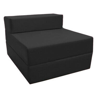 Black Budget Fold Out Z Bed Futon Kids Sleepover Guest Chair Sofabed Mattress