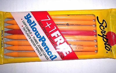 Vintage SCRIPTO 0.7mm Yellow Mechanical Pencils - 7+1 Red: New Old Stock!