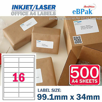 500 x 16 up 99.1 x 34mm Peel & Paste Label A4 Office Mailing Address label -16UP