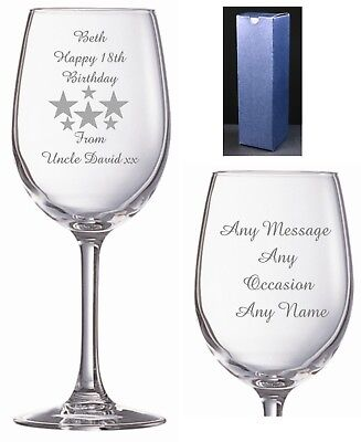 Personalised Crystal Wine Glass Retirement, Leaving Gift Birthday Free Engraving