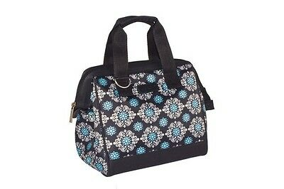 Sachi Insulated Lunch Tote Bag 2 Pocket Black Medallion