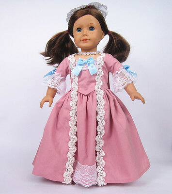 Pink Colonial Dress fits 18'' American Girl Dolls  Handmade AG018