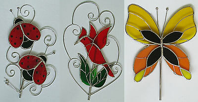 3 Stained Glass Large Garden Stakes Stand Pot Ornament Butterfly Bird Giftware