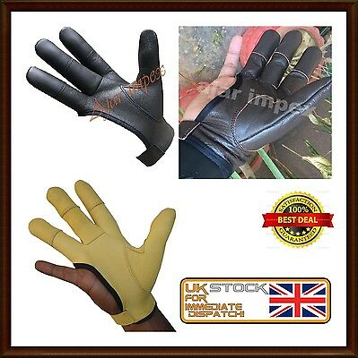 ARCHERS, LEATHER SHOOTING 4 FINGER GLOVE CHOCOLATE BROWN &-BLACK-Hunting Gloves