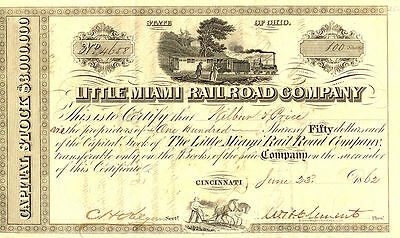 CHOICE CRISP 1873 LITTLE MIAMI RR STOCK w OLD TRAINS! 2ND OLDER TYPE IS 50% OFF!