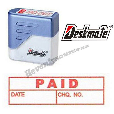 { PAID DATE CHQ. NO. } Deskmate Red Pre-Inked Self-Inking Rubber Stamp #KE-P26