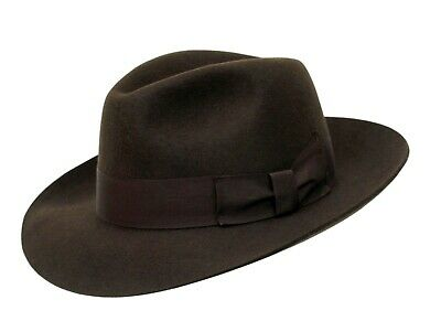 Gents Brown 100% Wool Hand Made Wider Brim Felt Fedora Trilby Hat With Band