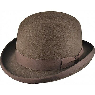 High Quality BROWN Hard Top 100% Wool Bowler Hat - Satin Lined  - Sizes S to XL