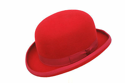 High Quality RED Hard Top 100% Wool Bowler Hat - Satin Lined  - Sizes S to XL